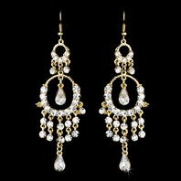 Bliss - Gold rhinestone drop chandelier earrings - SALE!!