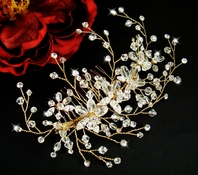 Brea - Stunning Gold Swarovski Crystal wedding hair Comb