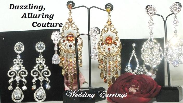 Wedding bridal earrings chandelier earrings bella tiara bridal earrings aloadofball