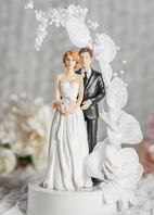 Bride and Groom Vintage Glitter Flower Arch Wedding Cake Topper