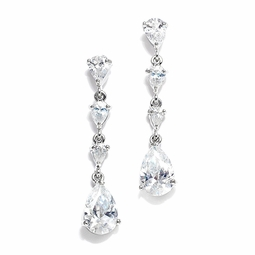 Caltha -  Dazzling cascading CZ bride or bridesmaids wedding earrings - SPECIAL