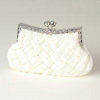 Camilla - Cream Satin Weave Crystal Frame wedding purse - SALE