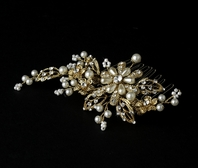 Camilla - Vintage Gold and Ivory Pearl Bridal Comb - SALE!!