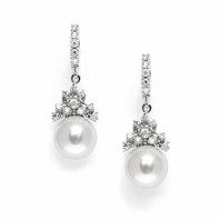 Cara - Lovely delicate CZ and pearl wedding earrings - SALE