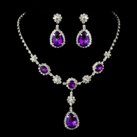 Chiera - Elegant amethyst purple bridemaids necklace set -  SPECIAL