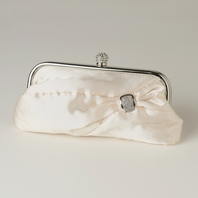 CLARA - Cream Satin Crystal Evening Bag - SALE