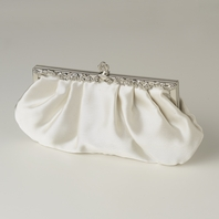 Clara - Ivory or white Satin Vintage Frame wedding purse - SALE