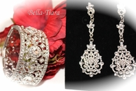 Clarissa - Vintage filigree wedding drop earring and bracelet -SPECIAL