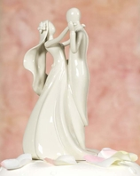 Contemporary Stylized Bride and Groom Cake topper