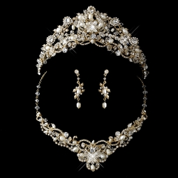 Contessa - SPECTACULAR gold wedding crown tiara and necklace set  - SPECIAL