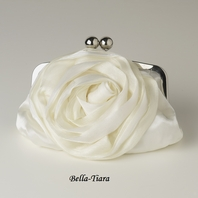 Ivory Floral Rose Evening Bag with Silver Frame & Shoulder Strap
