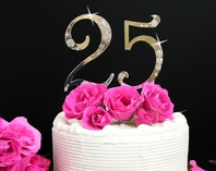 Crystal Birthday or Anniversay Cake Topper (set of 2)