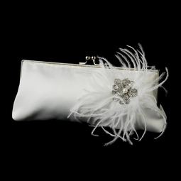 Crystal & Pearl Brooch & Feather Accent Bridal Purse - SALE