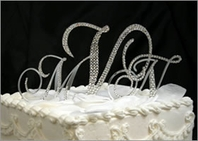 Custom Crystal Wedding Monogram Cake Topper