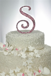 "Custom Full Crystal Monogram Cake Topper - large 6"" tall"