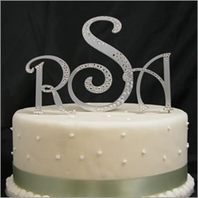 Custom Metal Partial Cystal Monogram Cake Topper