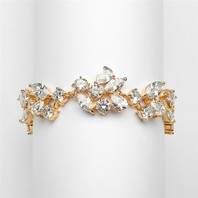 CZ Wedding Bracelet in 14K Gold Plating