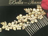 Dahlia- Beautiful gold floral bridal hair comb - SALE