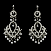 Dawn -Beautiful Vintage Pearl Bridal Chandelier Earrings