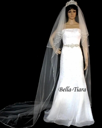 Dazzle Collection - Gorgeous cascading crystal pearl edge cathedral veil