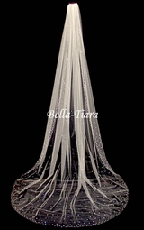 "Royal 120"" long  Scattered crystal cathedral veil - Free Blusher - 20% off use code (20veil)"