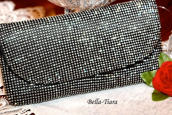 Dazzling crystal rhinestone envelope black clutch purse