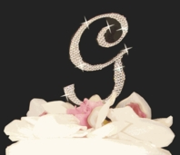 Dazzling Full Crystal Monogram Cake Topper