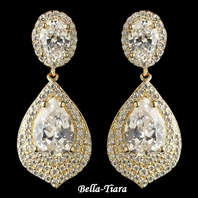 Dazzling Gold Clear CZ Teardrop Crystal Drop Earrings