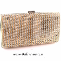 Dazzling gold rhinestone evening bridesmaids clutch
