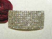DAZZLING gold wide rhinestone hair barrette - SPECIAL one left