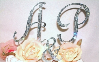 Dazzling Initials Full Crystal Monogram Cake Topper - SALE