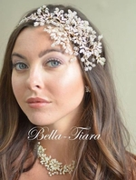 Dazzling rose gold crystal wedding vine spray headband