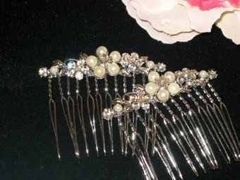 Delicate--Beautiful Pearl and Crystal Hair Combs-Set of 2