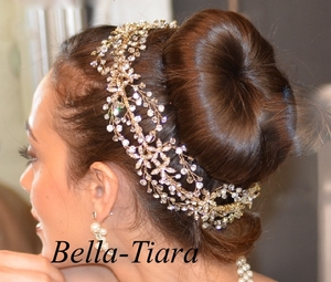 Royal Collection Designer gold or silver all around bridal crystal hair vine - SALE