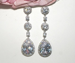 Desiree - Royal Collection - Stunning CZ drop bridal earrings - SALE