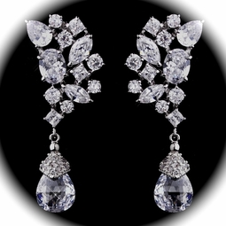Diva - STUNNING cz crystal wedding earrings - SALE