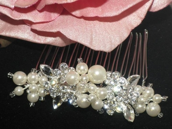Dolcina - Freshwater pearl and crystal bridal comb - SALE