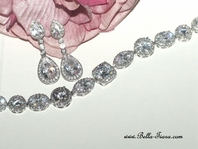 Domenica - Elegant high end CZ earrings and bracelet set - SALE