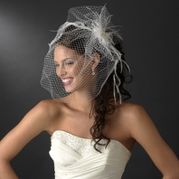 Donnatella - DRAMATIC feathers with birdcage wedding veil - SALE