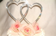 Double Heart Full Crystal Cake Topper