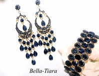 DRAMA - Navy sapphire blue prom jewelry set - 2 left