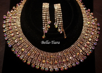 Dramatic statement rhinestone crystal gold necklace set- SALE  ONE LEFT