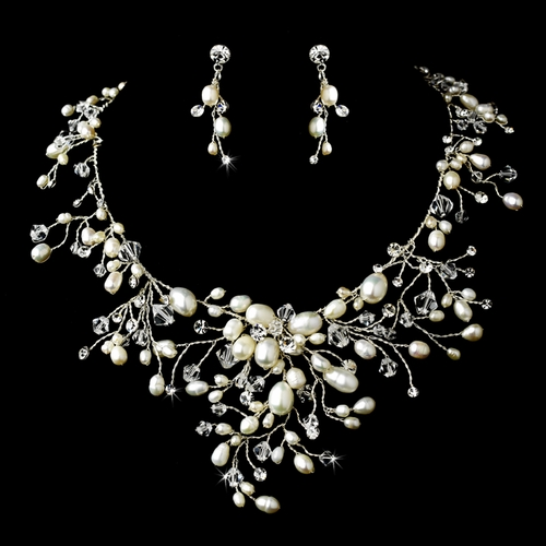 Dramatic Freshwater Pearl Crystal Wedding Necklace Set Special