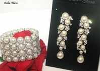 Dramatic wedding pearl statement earrings and bracelet set - SALE