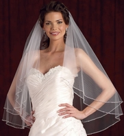 Royal Collection 2 tier beaded wedding veil - SALE