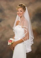Elegant 2-Tier white Ribbon Edge veil - clearance - sold