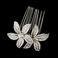 Elegant- Antique Silver Clear Rhinestone Flower Comb - SPECIAL