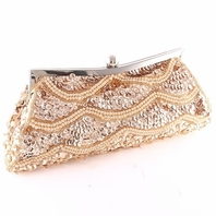 Elegant beaded champagne clutch evening purse - SPECIAL