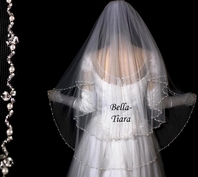 Elegant crystal and pearl two tier fingertip veil