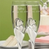 Elegant crystal double heart personalized wedding flutes